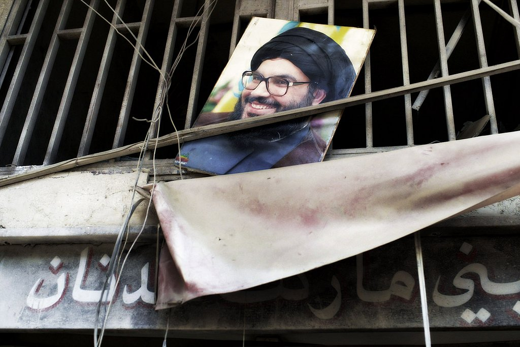 Image of Hassan Nasrallah. Conflict in Lebanon between Israel an